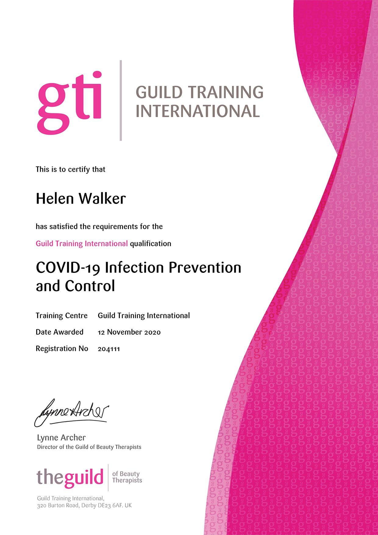 COVID-19 Infection Prevention and Control - MPMU GTi Certificate